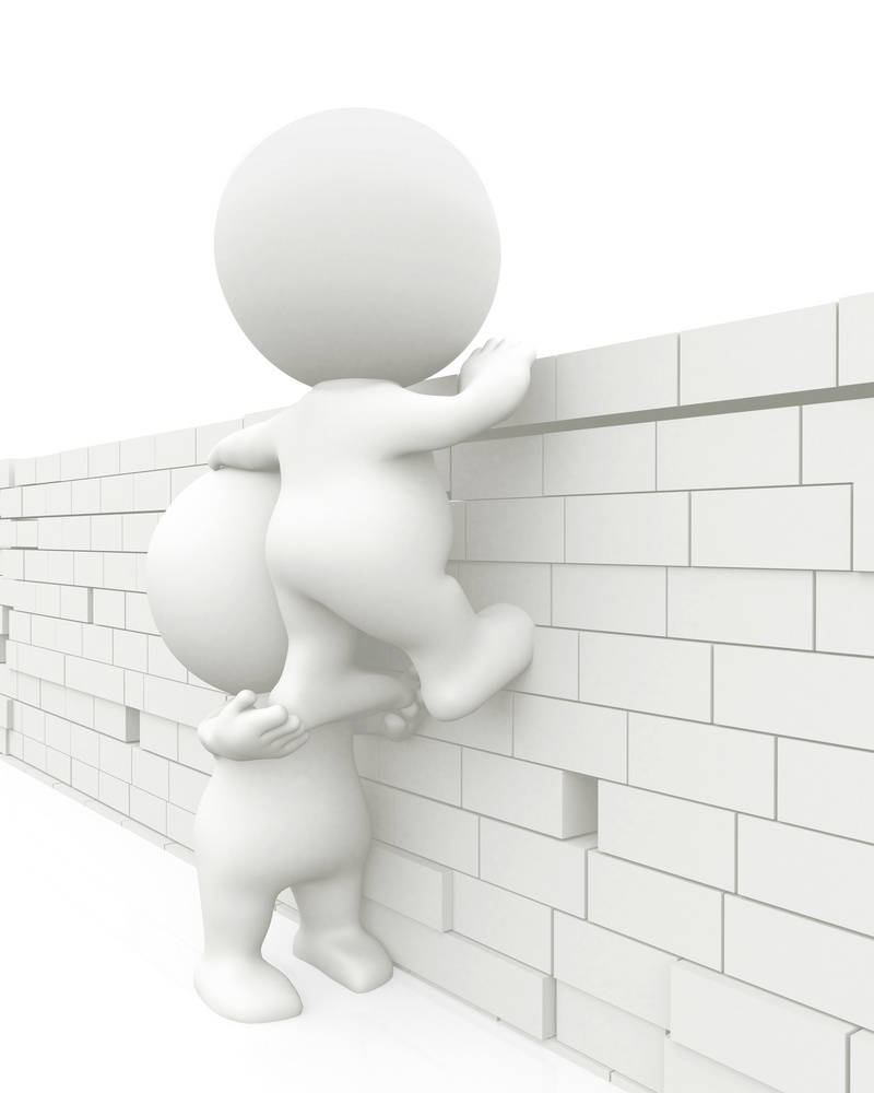 3D men jumping a brick wall isolated over a white background
